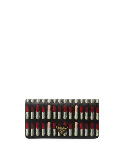 Lipstick-Print Saffiano Crossbody Wallet/Tech Case Bag