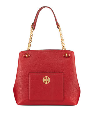 Chelsea Slouchy Leather Shoulder Tote Bag, Redstone