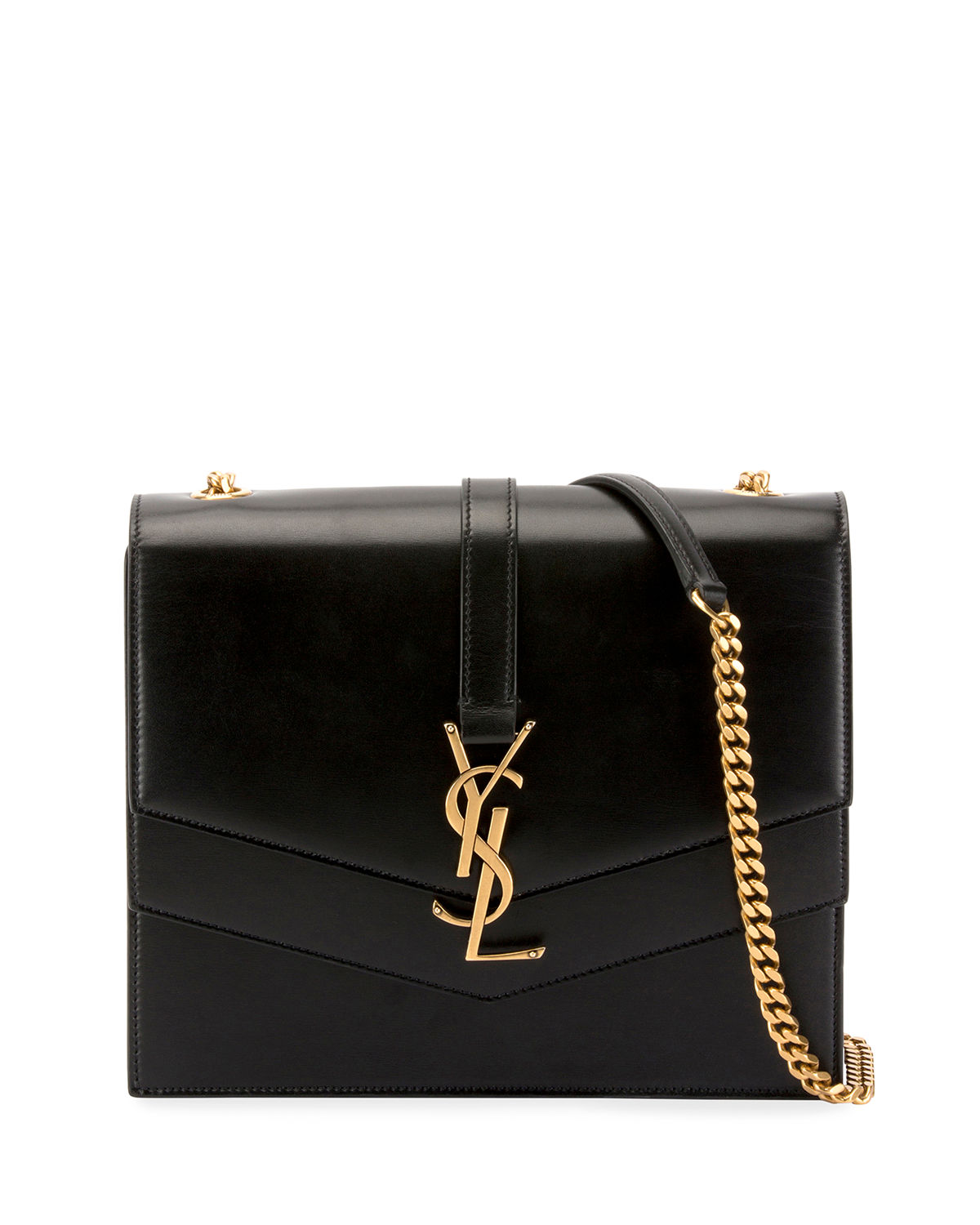 8ad0b3e441e Saint Laurent Sulpice Medium YSL Monogram Leather Triple V-Flap Crossbody  Bag