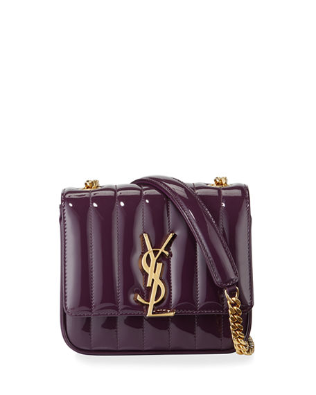 Image 1 of 5: Saint Laurent Vicky Monogram YSL Small Quilted Patent Leather Crossbody Bag