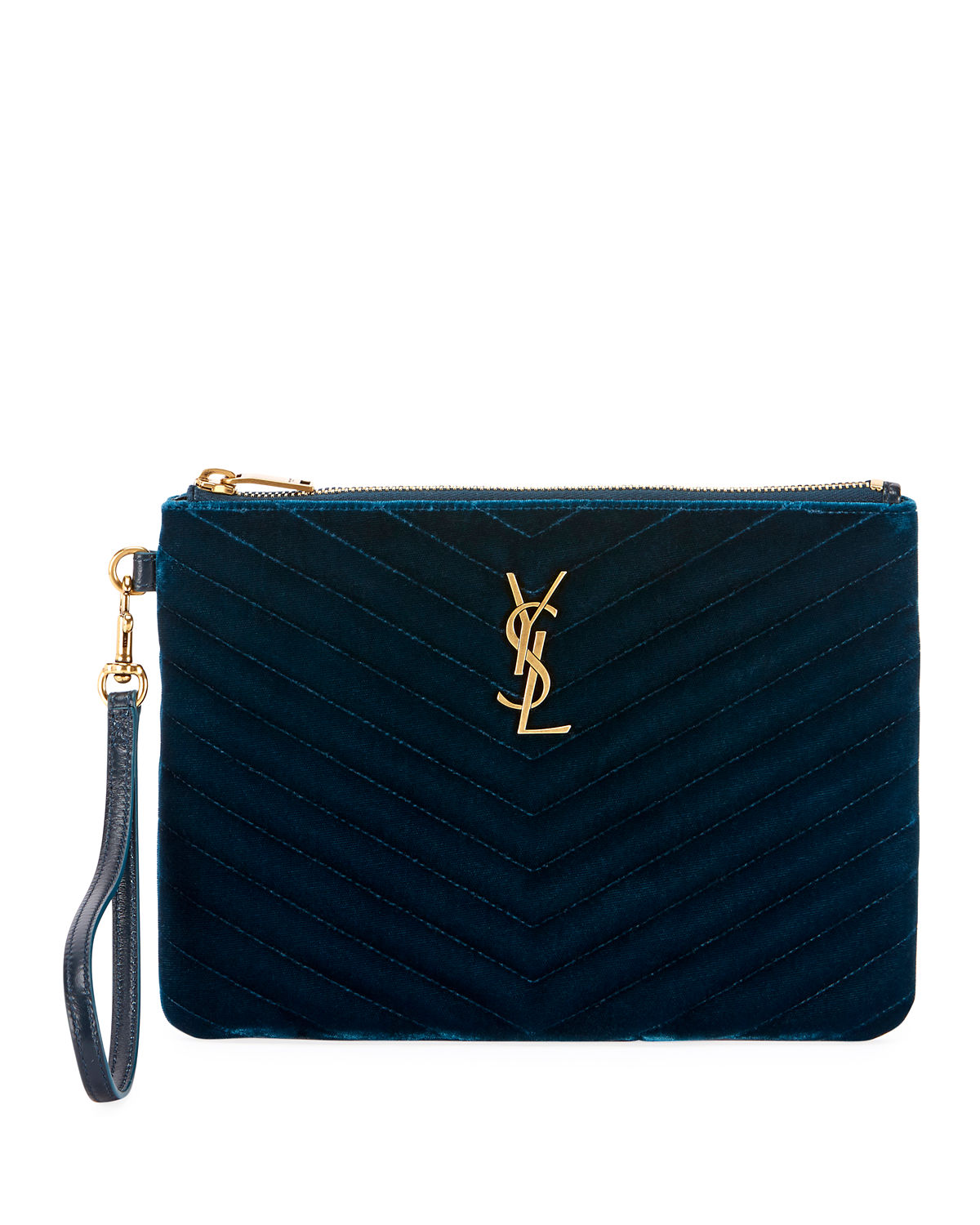 Saint Laurent Master Small Velvet Monogram Ysl Wristlet