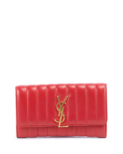 Vicky Monogram YSL Quilted Leather Continental Organizer Wallet