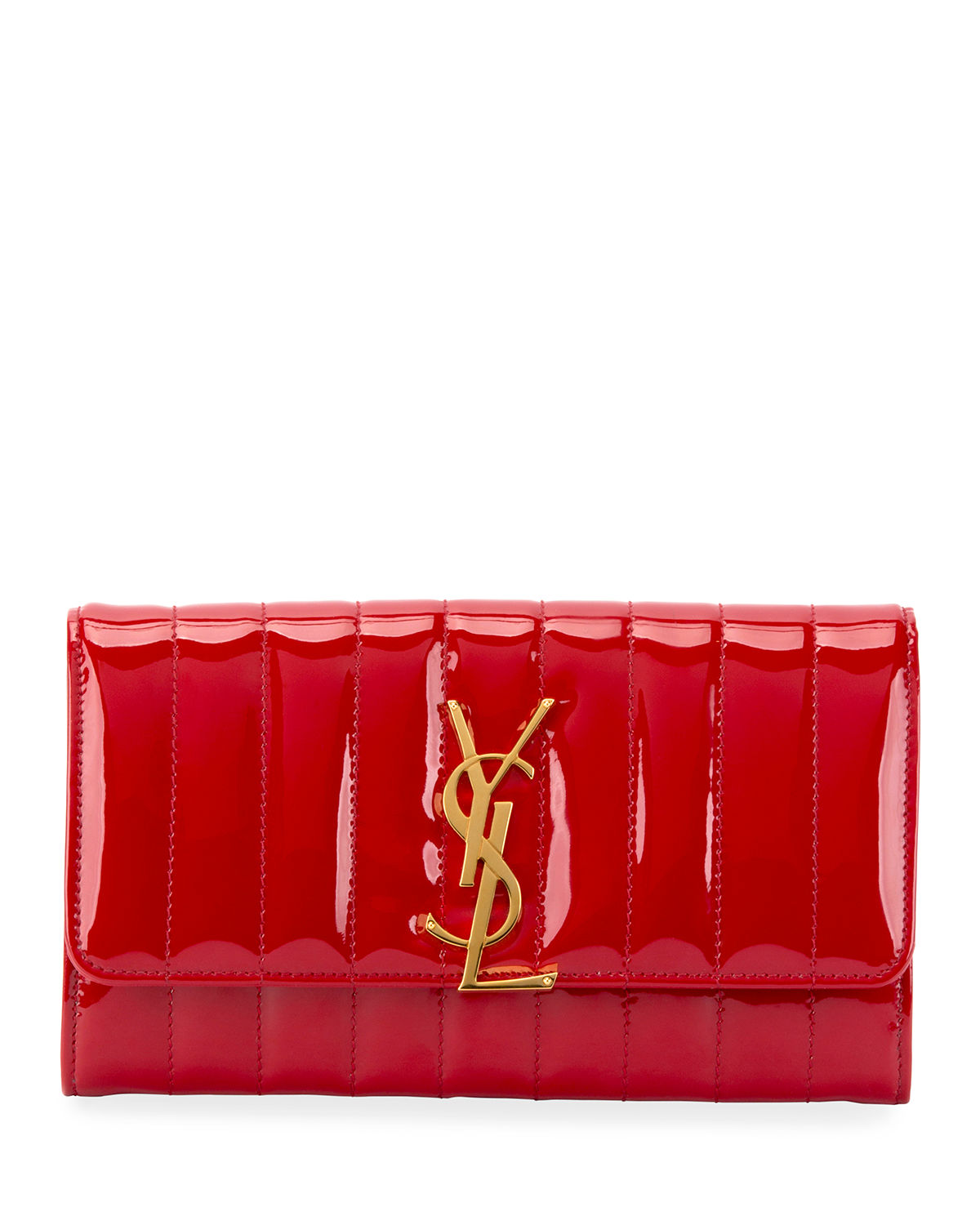 cfb9146ba47 Saint Laurent Vicky Monogram YSL Quilted Patent Continental Organizer Wallet