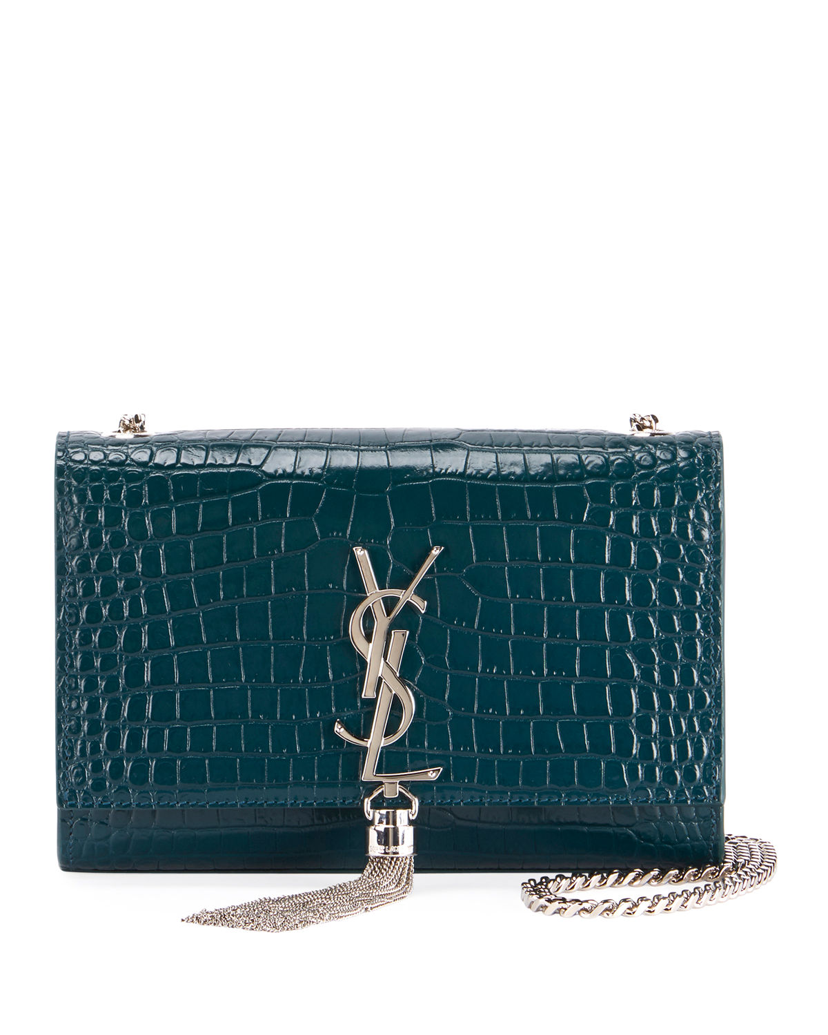 Saint Laurent Kate Monogram YSL Small Tassel Croco Shoulder Bag ... 5ebf92c12b218