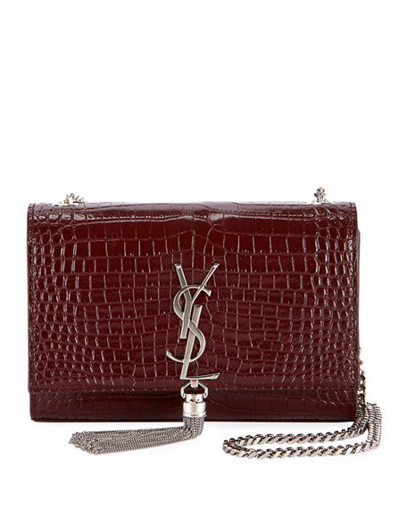 Saint Laurent Kate Monogram Small Croc-Embossed Tassel Shoulder Bag