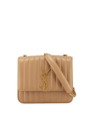 4e0e9bccf021 Saint Laurent Vicky Monogram YSL Large Quilted Leather Chain Crossbody Bag