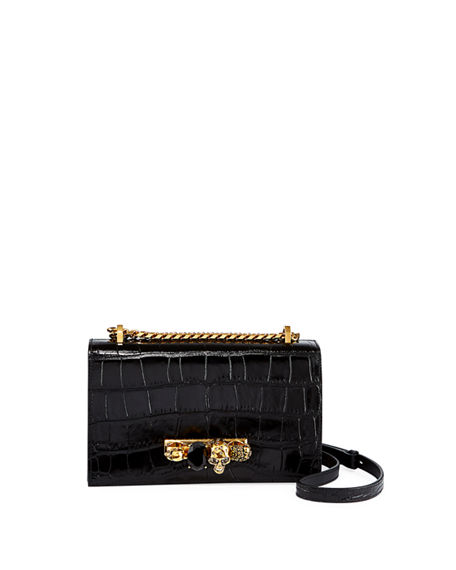Alexander McQueen Jeweled Croc-Embossed Leather Satchel Bag