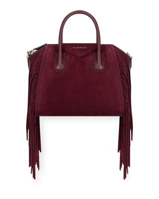 SMALL ANTIGONA FRINGE EMBELLISHED SUEDE SATCHEL - BURGUNDY