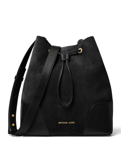 Cary Medium Suede/Leather Bucket Bag