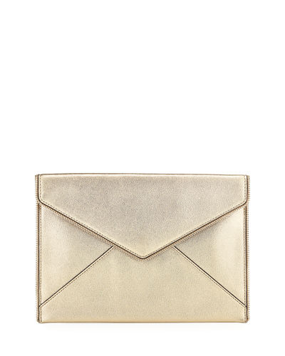 Leo Zip-Trim Metallic Leather Clutch Bag