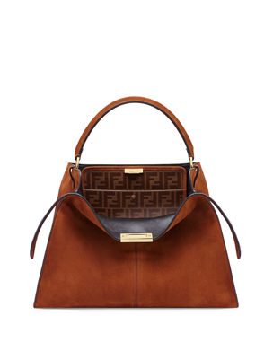 410181757aaa Fendi Peekaboo X-Lite Suede   Leather Satchel Bag