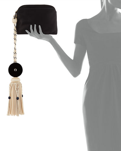 Large Satin Tassel Wristlet Clutch Bag
