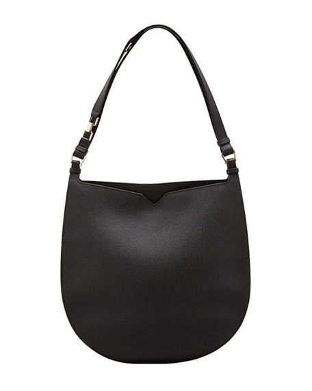 Image 1 of 4: Valextra Weekend Hobo Large Leather Shoulder Bag