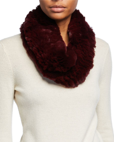 Surell Accessories Stretch Knit Short Fur Infinity Scarf