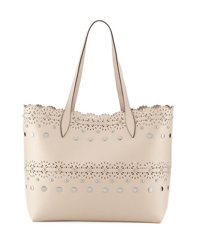 Cutout Structured Leather Tote Bag