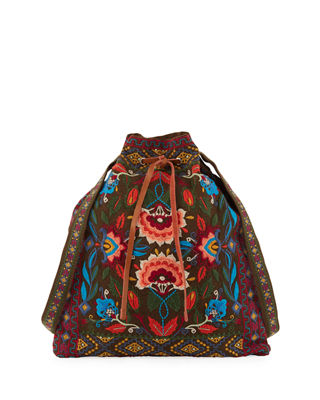 Johnny Was Izamal Embroidered Heavy Linen Tote Bag