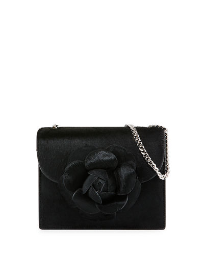 Tro Mini Calf Hair Crossbody Bag with Flower