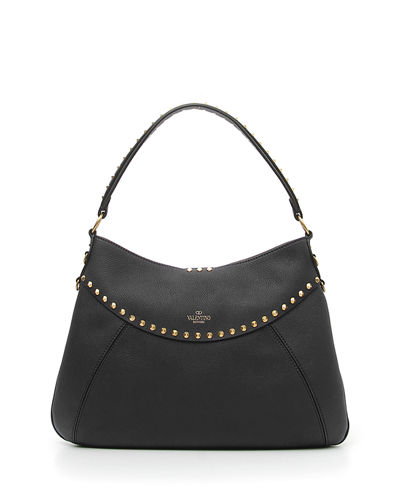 Valentino Garavani Twinkle Studs Medium Leather Hobo Bag