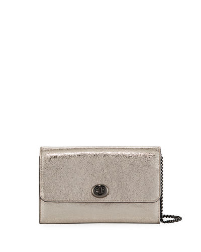Metallic Leather Turn-Lock Crossbody Bag