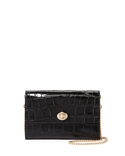 Croc-Embossed Turnlock Chain Crossbody Bag