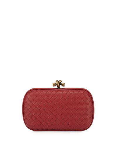 Leather Woven Knot Box Clutch Bag