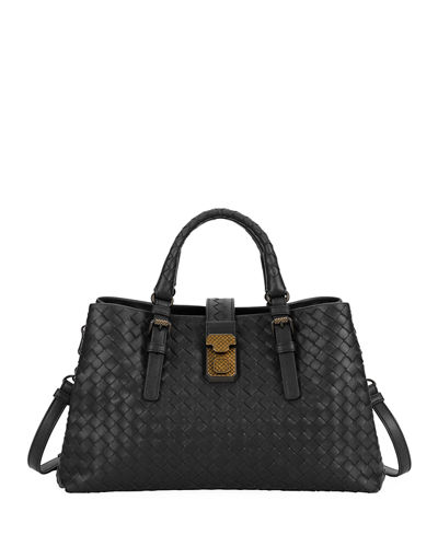Roma Small Woven Top-Handle Bag