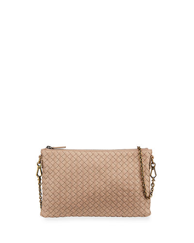 Bottega Veneta Biletto Woven Leather Zip-Top Pouch Crossbody Bag