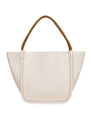 Large Super Lux Calf Leather Tote Bag in Beige