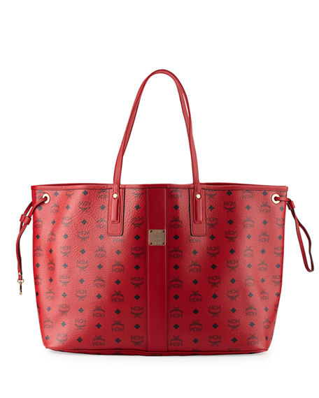 888079a754915 Mcm Liz Large Reversible Visetos Shopper Tote Bag In Ruby ...