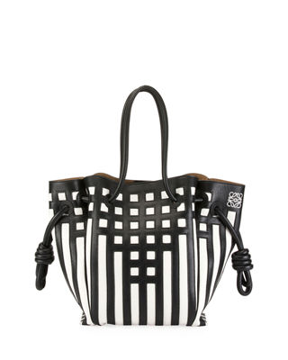 Flamenco Knot Grid Tote Bag in Black/White