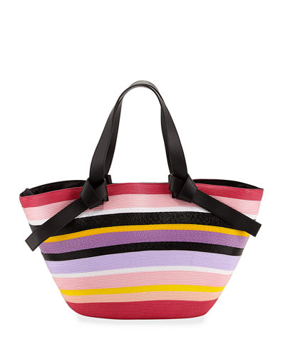 Striped Beach Tote Bag with Leather Straps