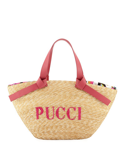 Logo Beach Tote Bag with Leather Straps