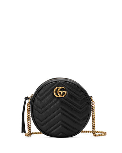 GG Marmont Mini Round Chevron Crossbody Bag