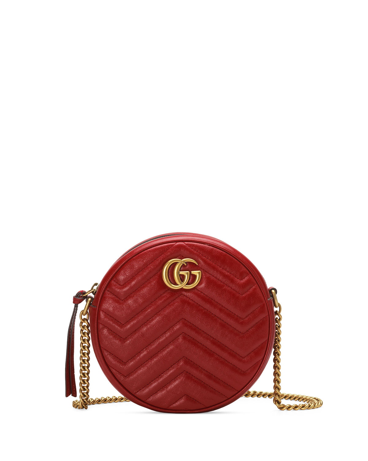 9e1d26c3b4f4 Gucci Gg Marmont Mini Round Chevron Crossbody Bag In Red
