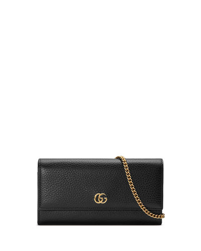 GG Marmont Leather Flap Wallet on a Chain