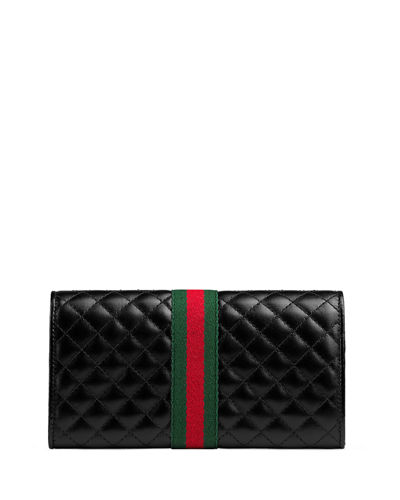 Gucci Quilted Flap Continental Wallet with Web