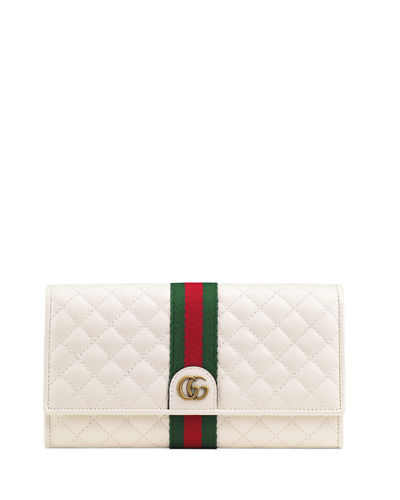 Quilted Flap Continental Wallet with Web