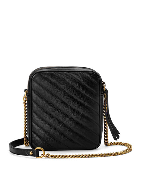 f8bf1ee59d8645 Gucci GG Marmont Tall Chevron Leather Crossbody Bag | Neiman Marcus