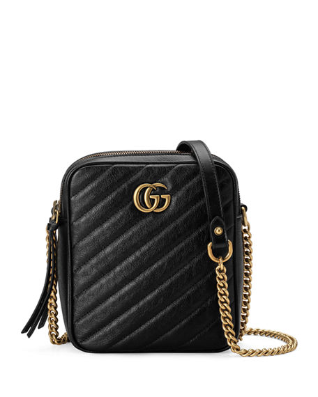 8ba2c78be46a Gucci Gg Marmont Tall Chevron Leather Crossbody Bag In Nero