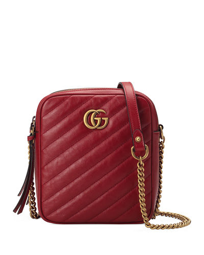 GG Marmont Tall Chevron Leather Crossbody Bag