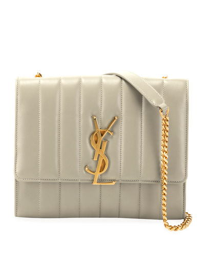 Vicky Monogram YSL North/South Quilted Leather Wallet on Chain