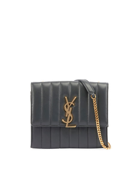 3a9a93524a Saint Laurent Vicky Medium Ysl Monogram Chain Crossbody Bag In Dark Green
