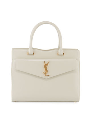 Uptown Small Cabas Leather Satchel - Ivory in Cremasoft