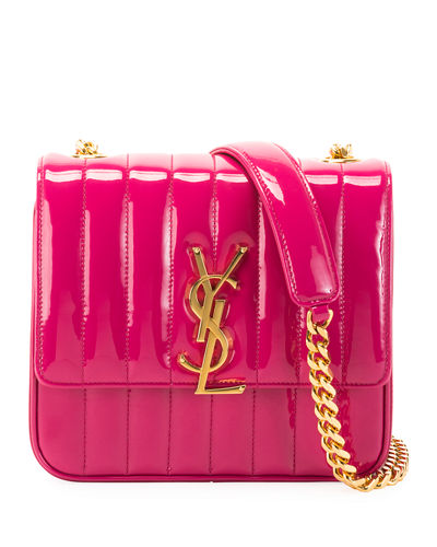 Saint Laurent Vicky Medium YSL Monogram Patent Chain Crossbody Bag