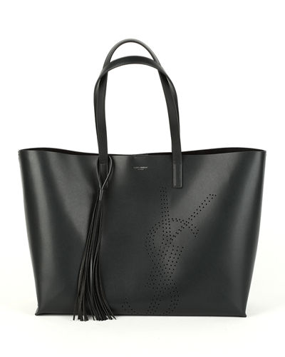 Smooth Leather YSL Perforated Shopping Tote Bag