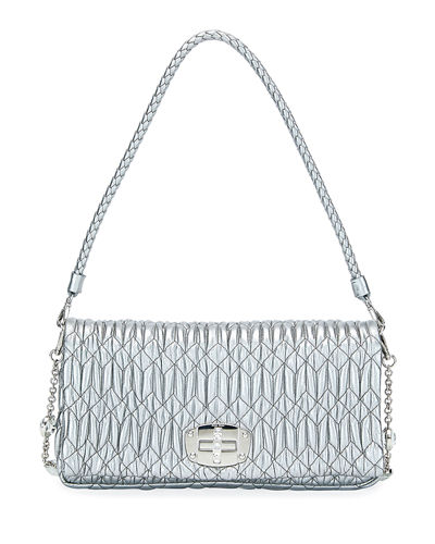 Metallic Matelasse Leather Medium Shoulder Bag w/ Crystal Lock