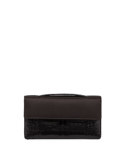 Small Satin Crocodile Evening Clutch Bag