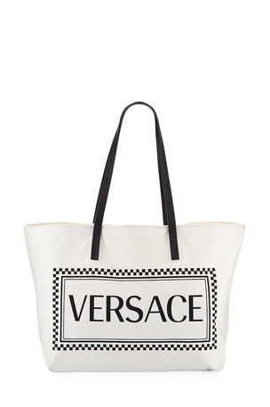 Versace Logo Canvas Tote Bag