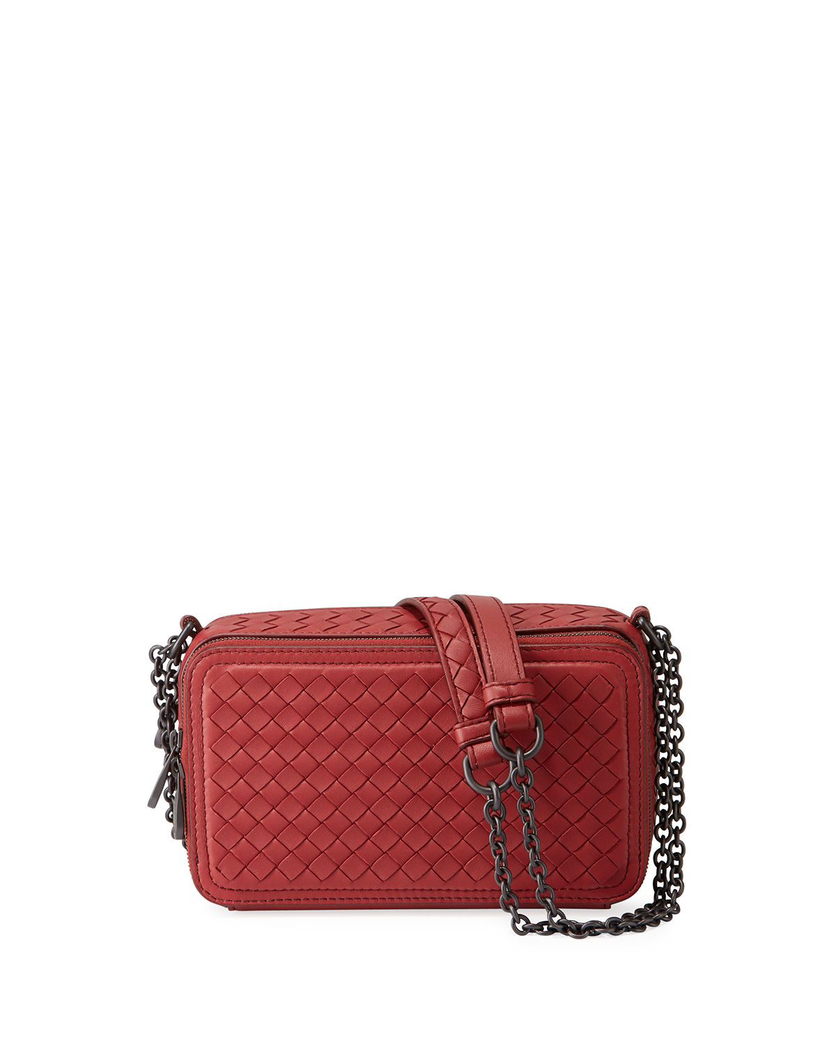 45d1cfb133de Bottega Veneta Intrecciato Leather Zip-Around Box Crossbody Bag ...