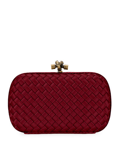 Woven Satin Chain Knot Clutch Bag